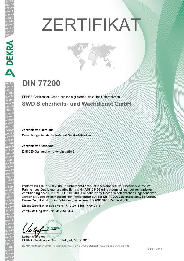 Zertifikate - SWD Sicherheitsdienst und Wachdienst bei Ingolstadt in ...